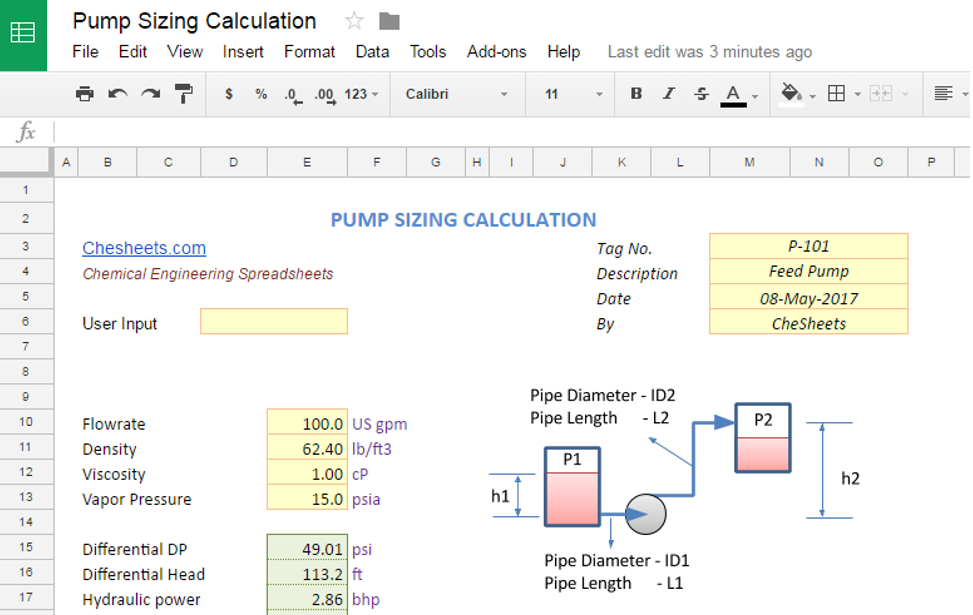 Pump Sizing Calculation