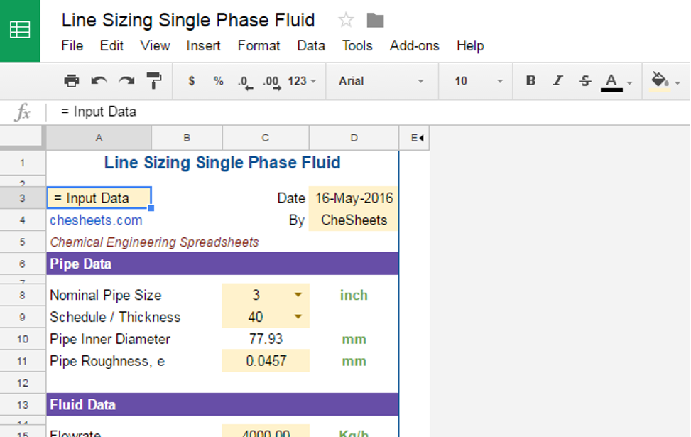 Line Sizing Single Phase Fluid Flow